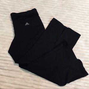 Adidas Black Cropped Back Slit Yoga Pant Capri MED